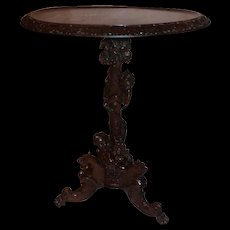 Extraordinary Carved Quartersawn Oak Cherub and Griffin Lamp Table