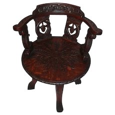 Heavily Carved Quartersawn Oak Revolving Desk Chair