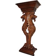 Magnificent  Large Quartersawn Oak Roaring Winged lions Stand