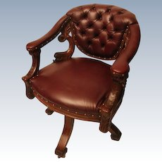 1890's Extraordinary Antique Dolphin Carved Oak Swivel Desk Chair.
