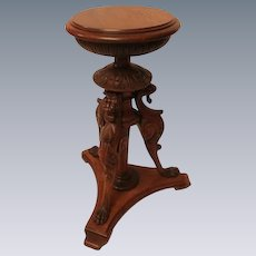 Antique Quartersawn Oak Griffin Carved Stand.