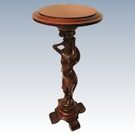 Fine Carved Lady Mahogany Plant Stand