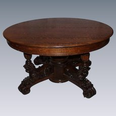 Extraordinary Quartersawn Oak Reclining Lions Dining Table with Leaves