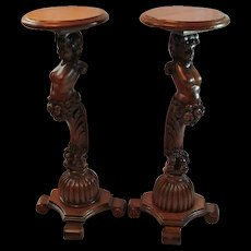 Pair ofWonderful Oak Carved Lady Plant Stands