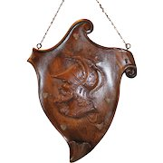 Large Carved Oak Wall Hanging Pipe Rack
