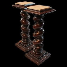 Pair of Huge Quartersawn Oak Carved and Turned Marble Top Plant  Stands