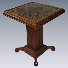 Outstanding, Rare Form Carved Quartersawn Oak Lamp Table, With Reverse Painted Glass Top
