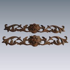 Pair of Outstanding Quartersawn Oak Lion Carvings