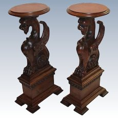 Outstanding Pair of Oak Winged Griffin Plant Stands