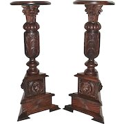 Great Pair of Lion Carved Oak Plant Stands