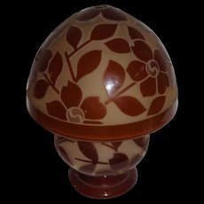 Wonderful Large Heavily Cutback Floral Bellova Glass on Glass Lamp