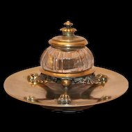 Extraordinary Heavy Clawfooted Brass and Glass Inkwell