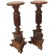 Pair of Outstanding Quartersawn Oak Lion Carved Plant Stands
