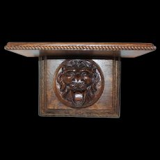 Quartersawn Oak Lion Clock Shelf