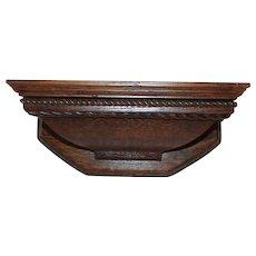 Carved Quartersawn Oak Clock Shelf