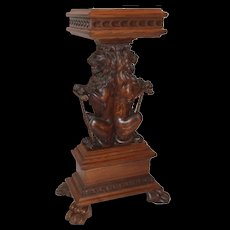 Extraordinary Quartersawn Oak Lion Plant Stand/Pedestal