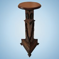 Quartersawn Oak Carved Decorated Plant Stand