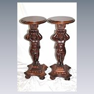 Wonderful Pair of Oak Cherub Carved Plant Stands