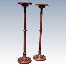Pair of Tall Turned Oak Stands