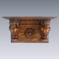 Winged Cherub Carved Oak Clock Shelf
