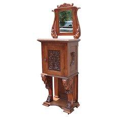 Quartersawn Oak Cherub Carved Parlor Cabinet With Mirror