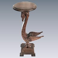 Carved Quartersawn Oak Stork Plant stand