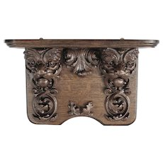 Highly Carved Quartersawn Oak lion Clock Shelf