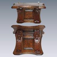 Wonderful Quartersawn Oak Pair of Matching Double Lion Clock Shelves