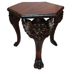Heavily Carved Quartersawn Oak Lion Head Stand