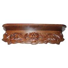 Large Heavily Carved Quartersawn Oak Shelf