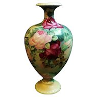 "14"" Large Hand Painted Willets Belleek Vase w/ Roses"