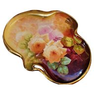 RARE Unusual Shaped Bronssillon Limoges Hand Painted Dresser or Serving Tray w/Roses