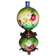 Late 1800's Beautiful Antique Gone with the Wind Oil Lamp with Flowers.