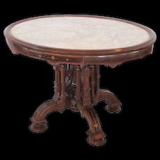 1860's American Rosewood Renaissance Revival Victorian Marble Top Center Table