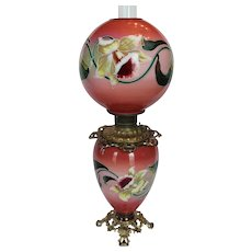 Wonderful RARE MIRROR IMAGE Gone with the Wind Oil Lamp ~Hand Painted Masterpiece~ Breathtaking BEAUTY WITH HAND PAINTED JONQUILS ~ Outstanding Fancy Ornate Font Spill Ring and Base~ Original Condition ~Original Parts ~ Collector Piece