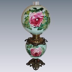 Wonderful Gone with the Wind Oil Lamp ~Hand Painted Masterpiece~ Breathtaking BEAUTY WITH Roses ~ Outstanding Fancy Ornate Font Spill Ring and Base~ Original Parts