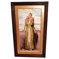 """Breathtaking 19th Century  LARGE 21"""" Hand Painted Porcelain Plaque ~ Depicting the Love of a Mother & Child ~ Outstanding Master Painting Artistry"""
