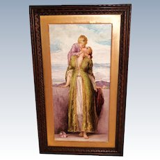"Breathtaking 19th Century  LARGE 21"" Hand Painted Porcelain Plaque ~ Depicting the Love of a Mother & Child ~ Outstanding Master Painting Artistry"