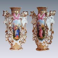 "Museum Quality ~ RARE 1850's Haviland Limoges Model 417 ""Potiche Tête de chèvre"" Goat Masterpiece Vases""~ Breathtaking HAND PAINTED WOMEN & ROSES"" ~  Stunning Still Life Paintings on Porcelain ~ Magnificent Piece of Fine Art ~ Collector's DREAM"