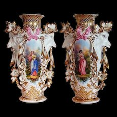 "Museum Quality ~ RARE 1850's Haviland Limoges Model 417 ""Potiche Tête de chèvre"" Goat Masterpiece Vases""~ Breathtaking HAND PAINTED WOMEN & ROSES"" ~  Stunning Still Life Paintings on Porcelain ~ Magnificent Piece of Fine Art ~ Collector's DREAM"
