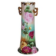 Wonderful Austrian Hand Painted Twisted Handle Vase ~ Breathtaking HAND PAINTED ROSES ~ Full Stunning Still Life Paintings on Porcelain On BOTH SIDES of the Vase~ Magnificent Piece of Fine Art ~ Collector's DREAM!!!