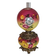 Wonderful Gone with the Wind  Banquet Oil Lamp ~Hand Painted Masterpiece~ Breathtaking BEAUTY WITH HAND PAINTED ROSES ~ Outstanding Fancy Ornate Font Spill Ring and Base~ Original Parts