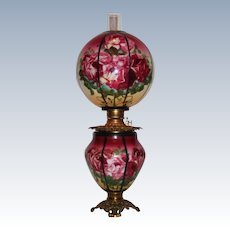 Museum Quality ~ OUTSTANDING HUGE Gone with the Wind Oil Banquet Lamp ~Masterpiece Breathtaking BEAUTY WITH ROSES ~ Hand Painted to Look Like a Leaded Lamp ~ Fancy Ornate Font Spill Ring and Base~ Original Condition ~Original Parts  ~ Master Artistry