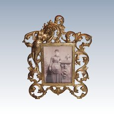 Antique  American Victorian Rococo Brass Ornate Picture Frame ~ Circa 1890's~ Original Condition