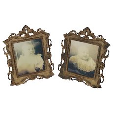 PAIR of Antique National Brass & Iron Works American Victorian Rococo Brass Ornate Picture Frame ~ Circa 1890's~ Original Condition