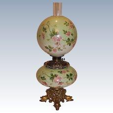Museum Quality ~ OUTSTANDING LARGE Gone with the Wind Oil Lamp ~Masterpiece Breathtaking BEAUTY WITH RARE DOLPHIN BASE ~ Fancy Ornate Font Spill Ring and RARE Base~ Original Condition ~Original Parts