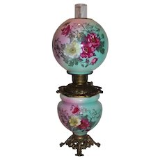 BEAUTIFUL Gone with the Wind Kerosene Banquet Lamp ~Masterpiece Breathtaking BEAUTY WITH HAND PAINTED Flowers~ Outstanding Fancy Ornate Font Spill Ring and Base~ Original Condition ~Original Parts