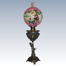 RARE Outstanding Figural Cherub Banquet Oil Lamp with MATCH HOLDER  ~ Original Old Shade with Hand Painted Roses ~ Breathtaking BEAUTY ~ Outstanding Fancy Ornate Font and Base ~ Original Condition.