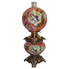WOW!  Outstanding RARE FOSTORIA Gone with the Wind Kerosene Banquet Lamp ~Masterpiece Breathtaking BEAUTY WITH HAND PAINTED Flowers~ Outstanding Fancy Ornate Font Spill Ring and Base~ Original Condition ~Original Parts