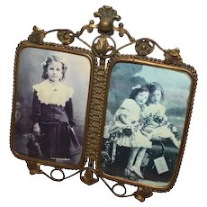 RARE  Victorian Rococo Brass Ornate Double Picture Frame ~ Circa 1890's~ ORIGINAL CONDITION